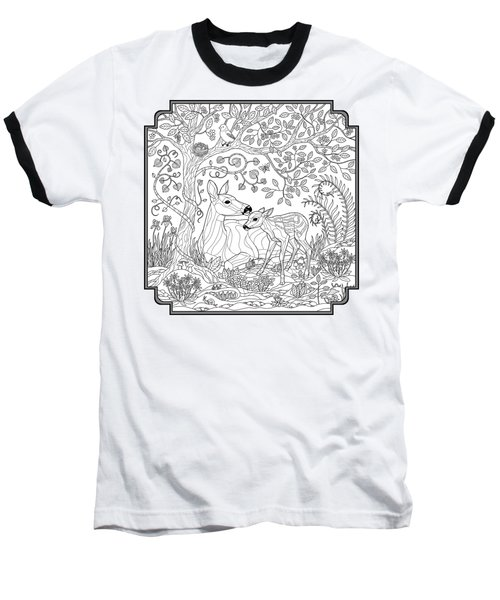Deer Fantasy Forest Coloring Page Baseball T-Shirt