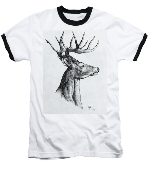 Baseball T-Shirt featuring the drawing Deer by Michael  TMAD Finney