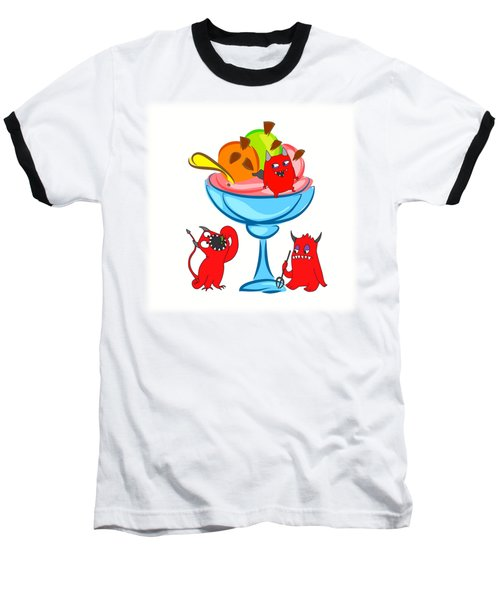 Deliciously Cool Ice Cream Sundae Baseball T-Shirt