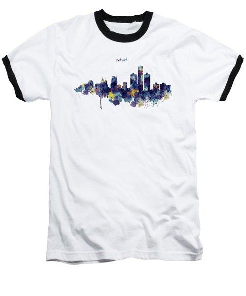 Detroit Skyline Silhouette Baseball T-Shirt