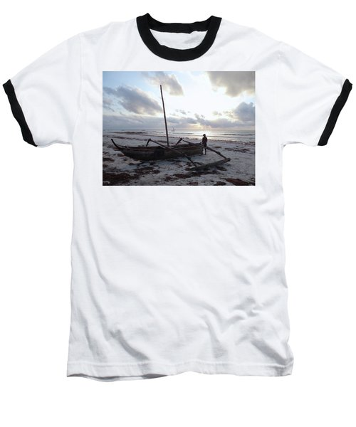 Dhow Wooden Boats At Sunrise With Fisherman Baseball T-Shirt