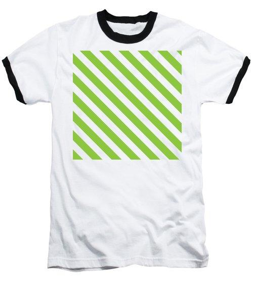 Diagonal Green Stripes Baseball T-Shirt