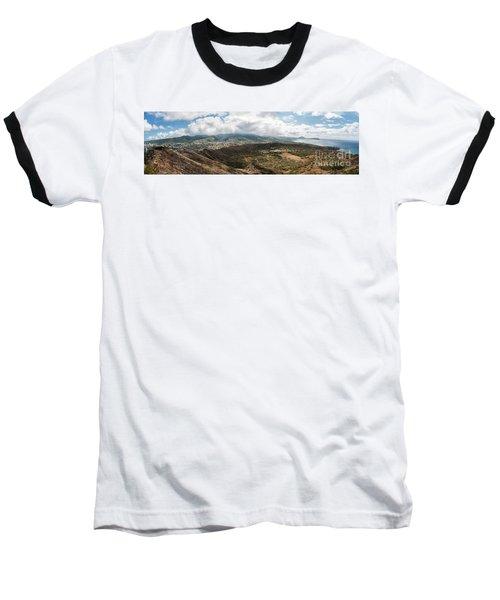 Diamond Head View Panoramic Baseball T-Shirt