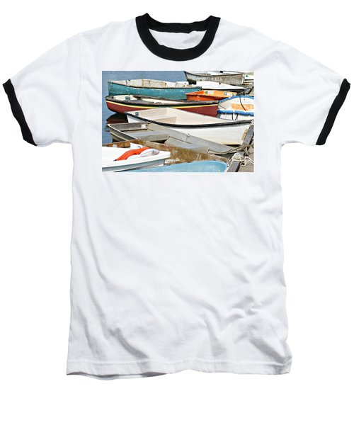 Dinghys At Bearskin Neck Baseball T-Shirt by Joe Faherty