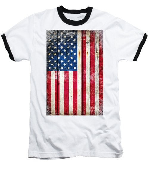Distressed American Flag On Wood - Vertical Baseball T-Shirt by M L C