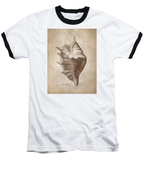 Baseball T-Shirt featuring the drawing Distressed Antique Nautical Seashell 1  by Karen Whitworth
