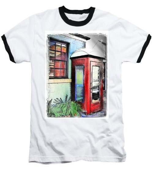 Baseball T-Shirt featuring the photograph Do-00091 Telephone Booth In Morpeth by Digital Oil
