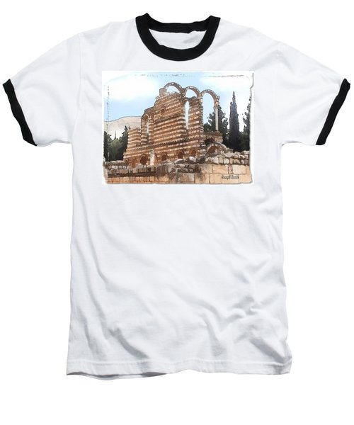 Baseball T-Shirt featuring the photograph Do-00302 Ruins In Anjar by Digital Oil