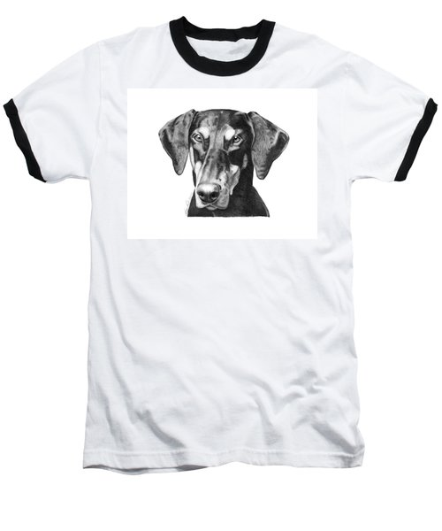 Baseball T-Shirt featuring the drawing Doberman by Abbey Noelle