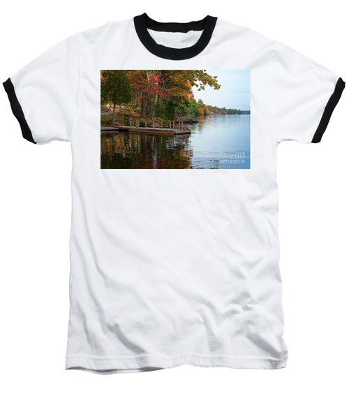 Dock On Lake In Fall Baseball T-Shirt