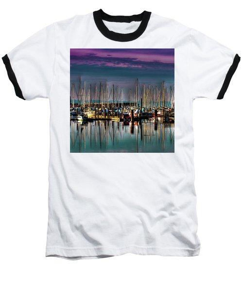 Docked Sailboats Baseball T-Shirt by David Patterson