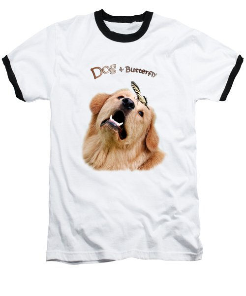 Dog And Butterfly Baseball T-Shirt by Christina Rollo