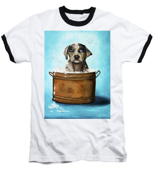 Dog N Suds Baseball T-Shirt by Leah Saulnier The Painting Maniac