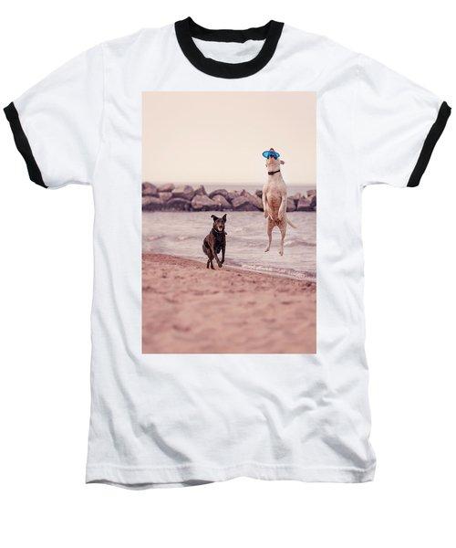 Dog With Frisbee Baseball T-Shirt