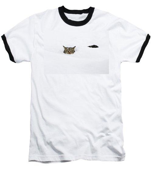 Domestic Cat Felis Catus In Deep Snow Baseball T-Shirt