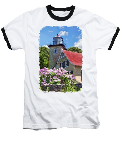 Baseball T-Shirt featuring the painting Door County Eagle Bluff Lighthouse Lilacs by Christopher Arndt