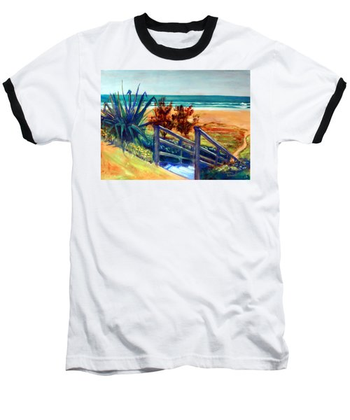 Baseball T-Shirt featuring the painting Down The Stairs To The Beach by Winsome Gunning