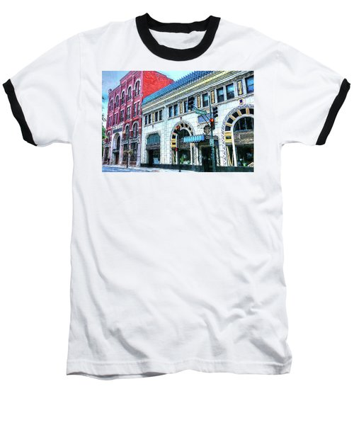 Downtown Asheville City Street Scene Painted  Baseball T-Shirt