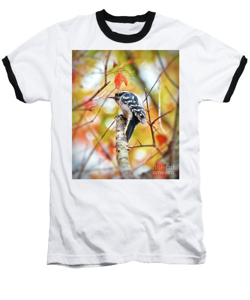 Downy Woodpecker In Autumn Forest Baseball T-Shirt