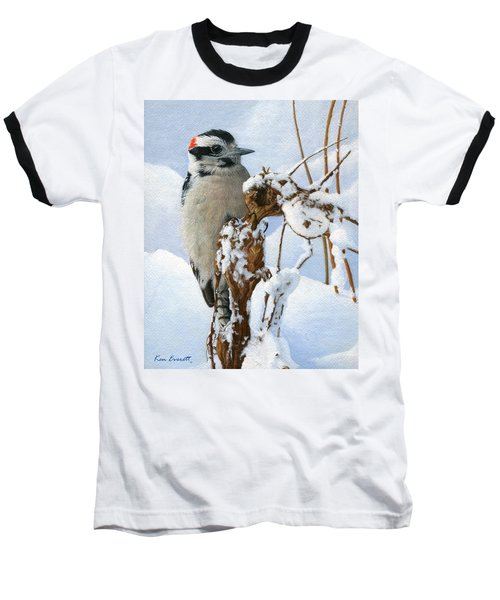 Downy Woodpecker  Baseball T-Shirt by Ken Everett
