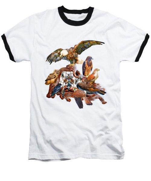Dream Catcher - Spirit Birds Baseball T-Shirt by Carol Cavalaris