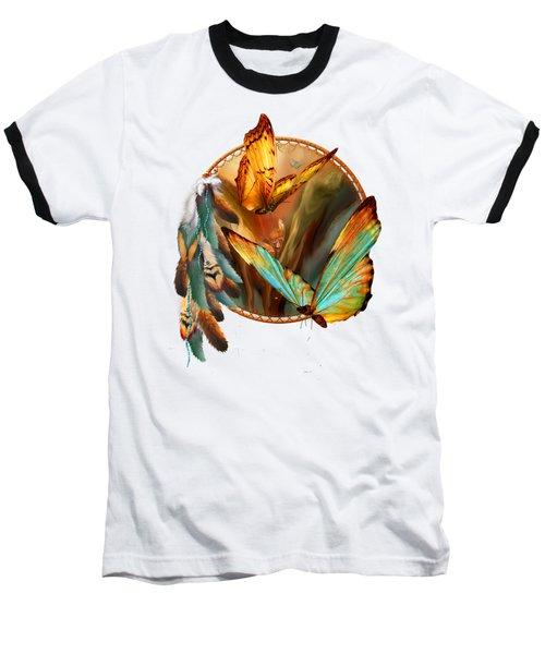 Dream Catcher - Spirit Of The Butterfly Baseball T-Shirt by Carol Cavalaris
