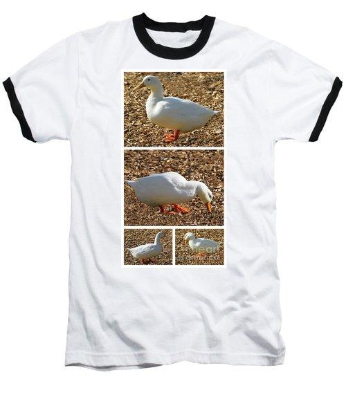 Duck Collage Mixed Media A51517 Baseball T-Shirt