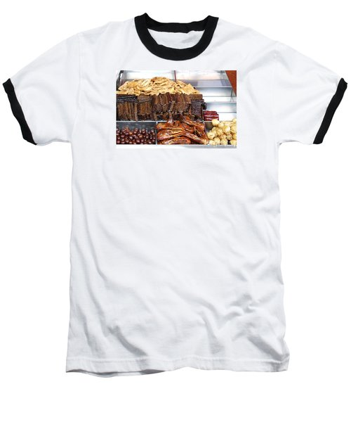 Duck Heads In Soy Sauce And Rice And Blood Cakes Baseball T-Shirt by Yali Shi