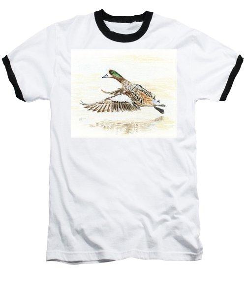 Duck Taking Off. Baseball T-Shirt by Raffaella Lunelli