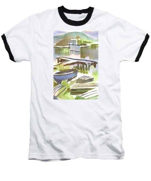 Baseball T-Shirt featuring the painting Dusk At The Boat Dock by Kip DeVore