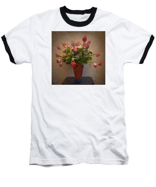 Dutch Flowers Blooming Baseball T-Shirt by Nop Briex