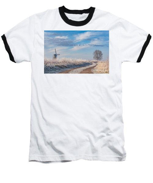 Dutch Windmill In Winter Baseball T-Shirt