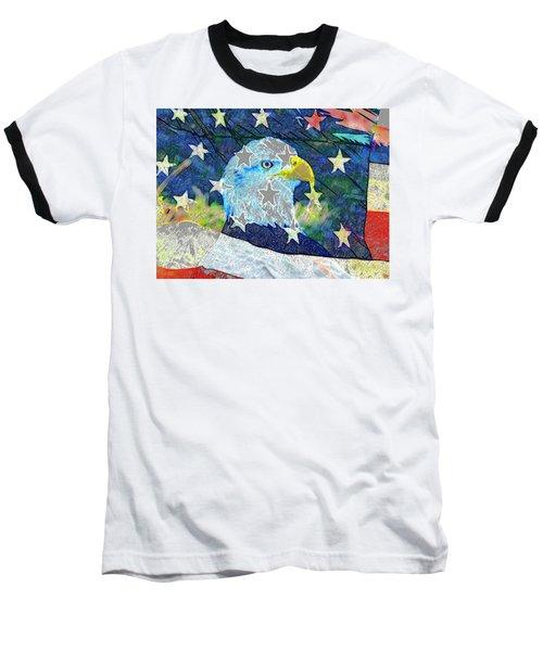 Baseball T-Shirt featuring the digital art Eagle Americana by David Lee Thompson