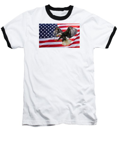 Eagle And Flag Baseball T-Shirt by Scott Carruthers