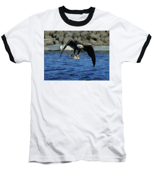 Eagle With Fish Flying Baseball T-Shirt