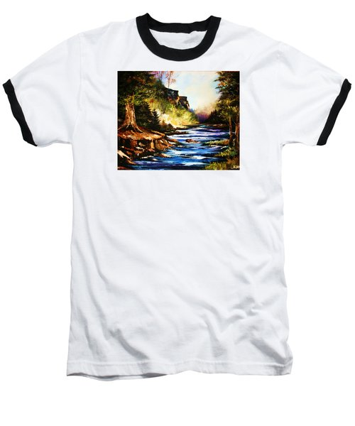Baseball T-Shirt featuring the painting Early Dawn Campfire by Al Brown