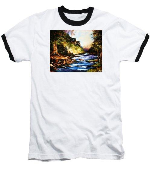 Early Dawn Campfire Baseball T-Shirt by Al Brown