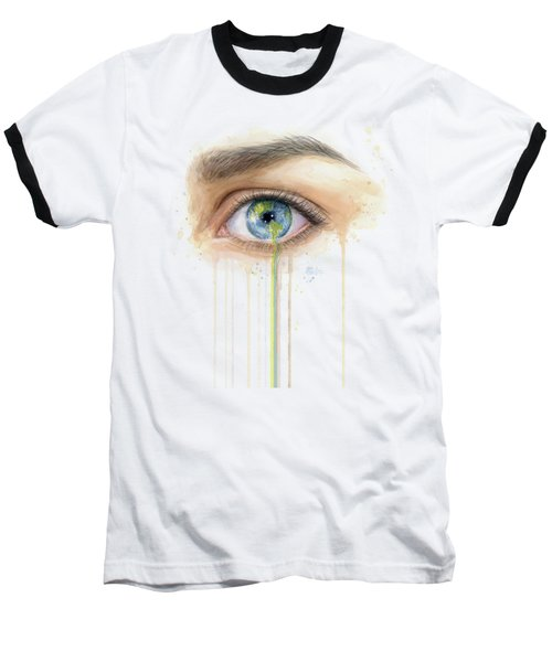 Earth In The Eye Crying Planet Baseball T-Shirt