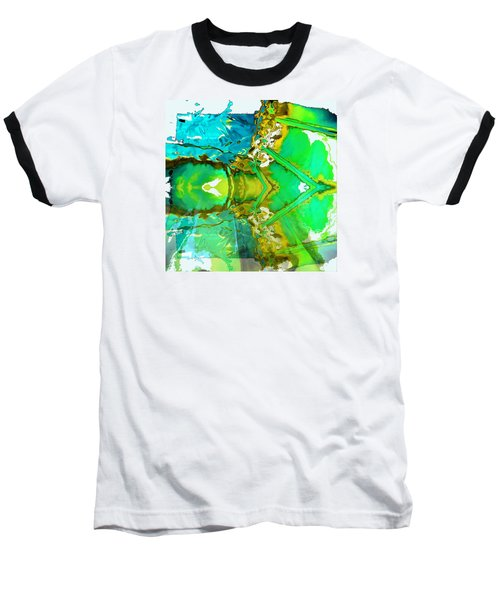 Baseball T-Shirt featuring the painting Earth Water Sky Abstract by Carolyn Repka