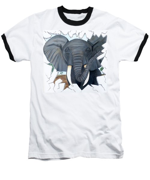 Eavesdropping Elephant Baseball T-Shirt by Teresa Wing