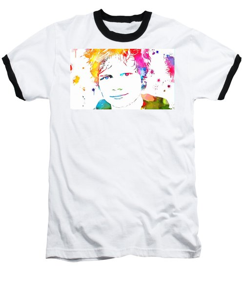 Ed Sheeran Paint Splatter Baseball T-Shirt by Dan Sproul
