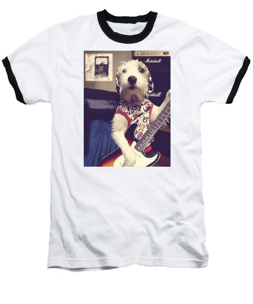Eddie Plays Guitar Baseball T-Shirt by Richard Reeve
