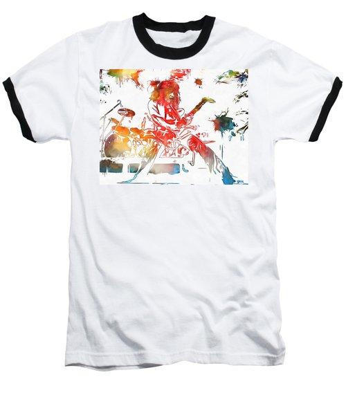 Eddie Van Halen Paint Splatter Baseball T-Shirt by Dan Sproul