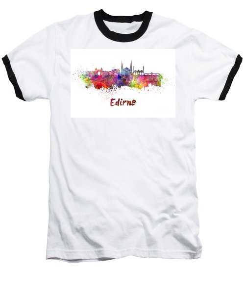 Edirne Skyline In Watercolor Baseball T-Shirt