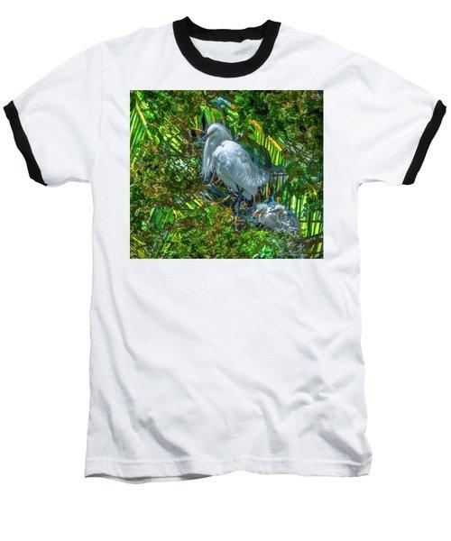Egret And Chicks Baseball T-Shirt