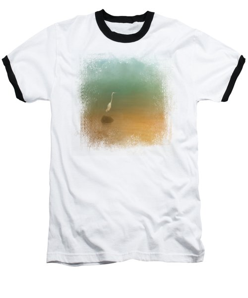 Egret At Sea Baseball T-Shirt by Jai Johnson