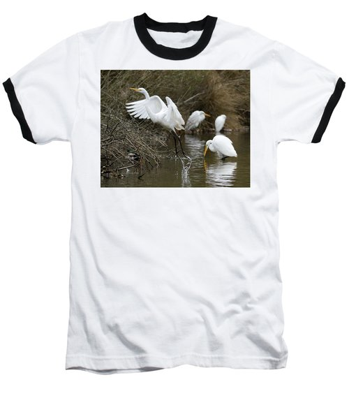Baseball T-Shirt featuring the photograph Egret Exit by George Randy Bass