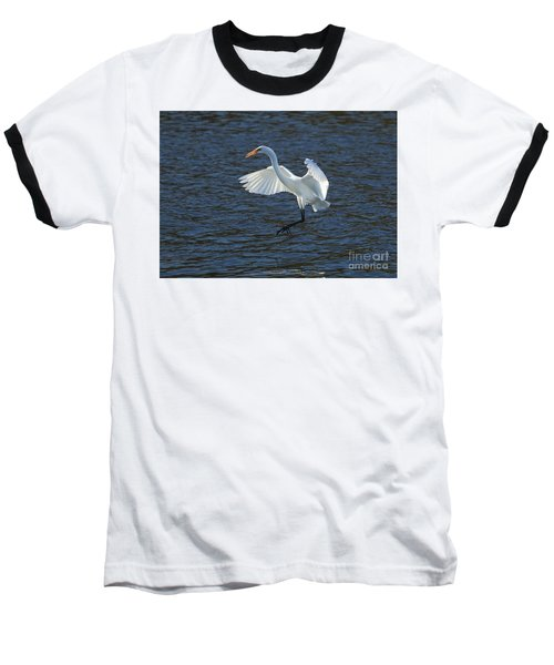 Egret Fishing Baseball T-Shirt