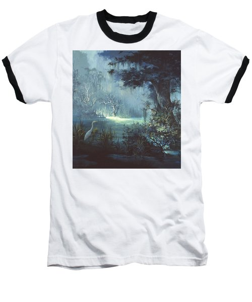 Egret In The Shadows Baseball T-Shirt by Michael Humphries