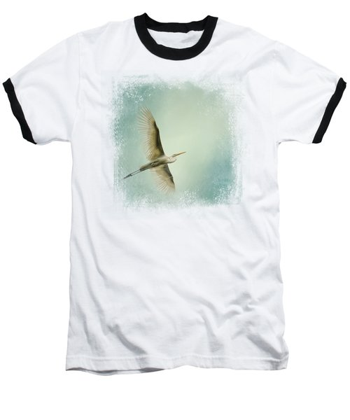 Egret Overhead Baseball T-Shirt by Jai Johnson